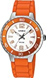 Casio Womens LTP1331-4AV Orange Resin Quartz Watch with Silver Dial