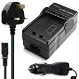 Battery Charger for Pentax Optio 750Z digital camera/camcorder + UK Safe Plug & Car Travel Adapter