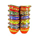 Word Tree Decorated Diwali Diyas, Vibrantly Hand Painted, Multi Coloured- Set Of 12 - Combo 19