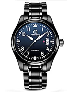 Carnival 44mm Men's Stainless Steel Case Black Dial Automatic Mechanical Watches