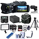 Canon VIXIA HF G50 4K UHD Camcorder, 20x Optical Zoom - Bundle with Video Bag, 64GB SDXC U3 Card, Spare Battery, Video Mic, LED Light, 58mm Filter Kit, Tripod, Dual Charger, Cleaning Kit, and More