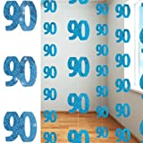 Blue Glitz Age 90 Happy Birthday 5 Feet Hanging Decoration - Pack of 6 Strings