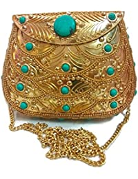 Rose Gold Color Handmade Stylish Ethnic Metal Clutch Cum Sling Bag