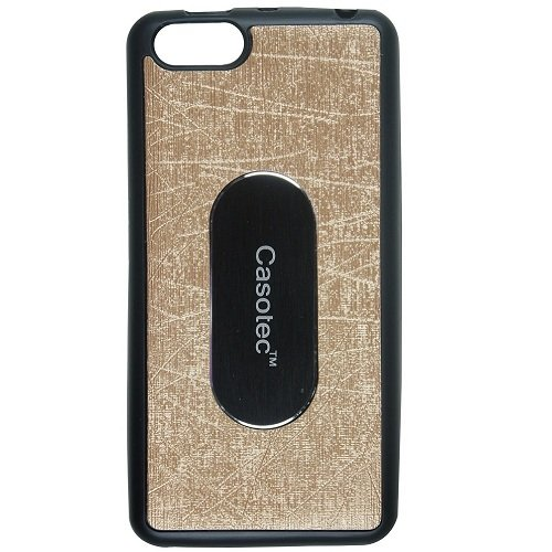 Casotec Metal Back TPU Back Case Cover for Panasonic P55 NOVO - Gold