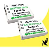 Two Halcyon 2350 mAH Lithium Ion Replacement Battery for Fujifilm X-S1 Digital Camera and Fujifilm NP-95