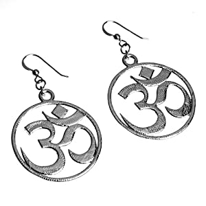 Om Silver Dipped Earrings on French Hooks