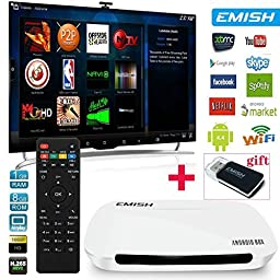EMISH Android Box with KODI, 1080P Quad Core Rockchip 3128, Unlocked Fully Loaded TV Box, Built-in WIFI, Streaming Media Player for Netflix, Hulu, Facebook, Laptop, Online Movies and ANY APPS, White