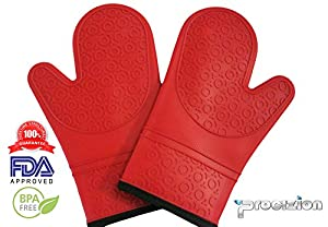 Silicone Mitts 1 Pair Ultra Flex and Soft for Oven Cooking, Kitchen Baking, BBQ Grill. Heat, Cold, Water, Oil and Steam Resistant. Includes Silicone Brush and 100% Satisfaction Guaranteed!