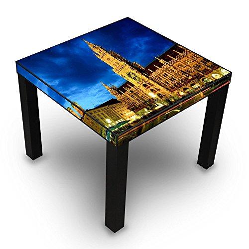 banjado-Beistelltisch-Design-Tisch-55x45x55cm-Wohnzimmertisch-schwarz-mit-Motiv-Mnchen