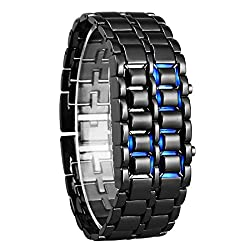 Fengfanglin Sport Digital Stainless Steel Black LED Watch for Men and Boys
