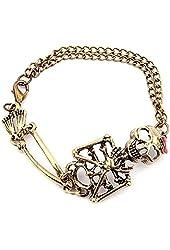 Suppion® Vintage Alloy Rock Gothic Punk Skeleton Skull Charm Bracelet
