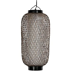 Oriental Furniture Swag Lamp Ceiling Hung Lighting, 17-Inch Kirosawa Japanese Classic Design Hanging Lantern