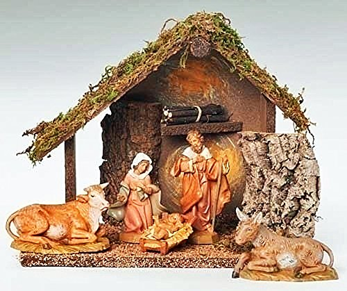 Fontanini Nativity - 5 Scale - 6 Pc Nativity Set - Italian Stable & 5 Figures