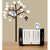 UberLyfe Leafy Tree With Blue And White Owls, Birds And Bird House Pigmented Polyvinyl Wall Sticker (Wall Covering...