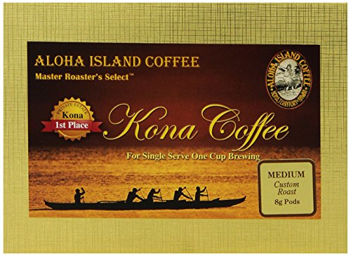 Aloha Island Coffee Medium Roast Organic 100% Pure Kona Coffee Pods, 18 Pods, 18-Count