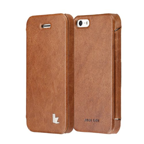 Great Price Jisoncase JS-IP5-03A20 Vintage Genuine Leather Folio Case for iPhone 5 - Retail Packaging - Brown