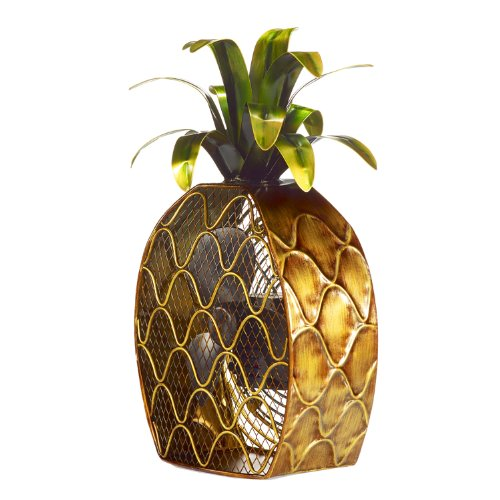 Deco Breeze DBF0375 Cast-Metal 16-Inch 3-Speed Pineapple-Shaped Decorative Fan (Tropical Table Fan compare prices)