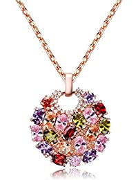 Crunchy Fashion Stylish Pary Wear 18K Rose Gold Platted Premium AAA Swiss Zircon Crystal Pendant Necklace For...