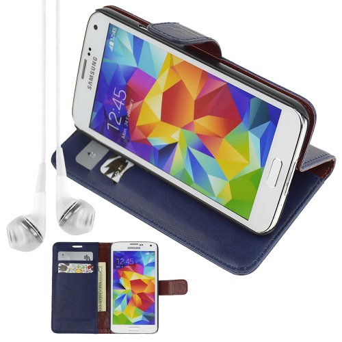 Pu Leather Folio Book Style Flip Cover Stand Case For Samsung Galaxy S5 S 5 S V - Blue + Vangoddy Headphone With Mic , White