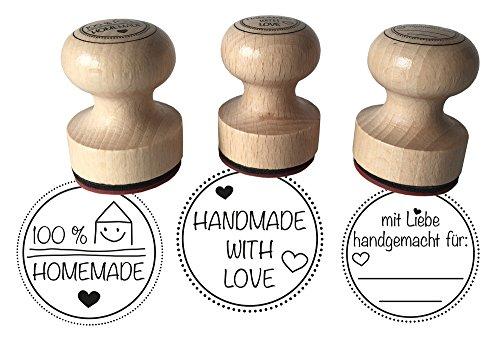 Holzstempel 3er Set - Mit Liebe handgemacht, 100 % Homemade und Handmade with Love