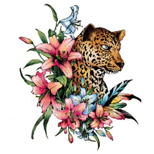 Amazon.com: Leopard Temporary Tattoo Cougar with Flowers