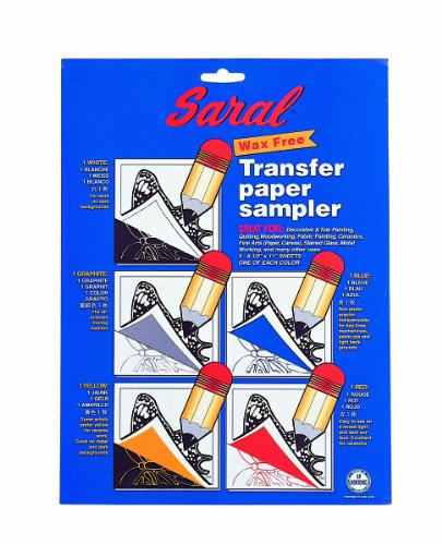 SARAL WAX-FREE Transfer (Tracing) Paper-SAMPLE PACK-Pack Contains 1 of Each Red, Blue, Graphite, White and Yellow 8.5 inch x 11 Inch Sheets (Wax Tracing Paper compare prices)