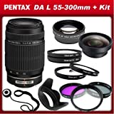 Pentax DA L 55-300mm f 4-5.8 ED Lens for Pentax k-5 - k5 - k-r - kr k-x - kx and Samsung Digital SLR Cameras with 0.45x Wide Angle Macro Lens - 2x Telephoto Lens - 3 Piece Filter Kit (UV - CPL - FLD) - 4 Piece Macro Lens Kit (+1 - +2 - +4 - +10)Lens Hood & Lens Cap Keeper
