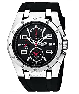 Pulsar Chronograph Men's Stainless Steel Case Rubber Strap Black Dial Quartz Movement Chronograph Watch PF3761