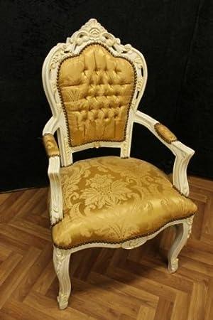 Poltrona Barocco intagliato creme-white laquere Golden fabricFabric