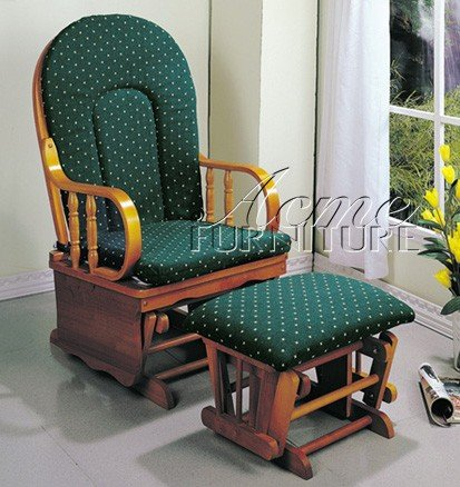 name glider rocker chair with ottoman green cushion oak finish