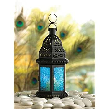 Gallery of Light Moroccan Lantern Blue Glass Candle Holder Candleholder