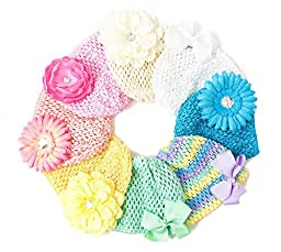 Ema Jane - Pastel Crochet Baby Beanie Waffle Hats with Hair Accessories