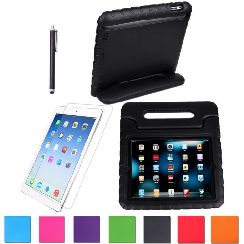 Hde Kids Light Weight Shock Proof Handle Case For Apple Ipad 2/3/4 W/ Screen Protector & Matching Stylus (Ipad 2/3/4, Black) front-210930