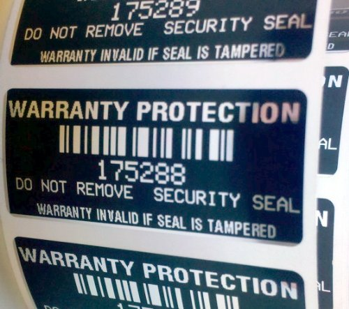 100 Black High Security Tamper Evident Warranty Void Labels/Stickers w/ Unique Sequential Serial Numbering and Bar Code (Tamper Resistant Sticker compare prices)