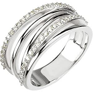 IceCarats Designer Jewelry 14K White Gold 3/8 Ctw Diamond Ring Size 6