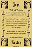 A4 Size Parchment Poster Literary First Lines Jane Austen Pride and Prejudice