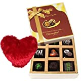 Valentine Chocholik's Belgium Chocolates - Chocolicious Dark Chocolate Box With Heart Pillow