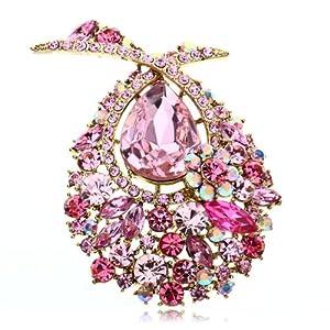 Arinna Appealing Showy Cute Pink Fashion Brooch Pin 18K Gold Gp Multi Swarovski Crystal