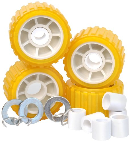 """Tie Down 86144 Amber 5"""" PVC Ribbed Wobble Roller Kit primary"""