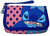 Disney Lilo & Stitch Coin Pouch Purse Wallet Card Phone Case Bag with 2 Zippers inside (blue and pink dot pattern)