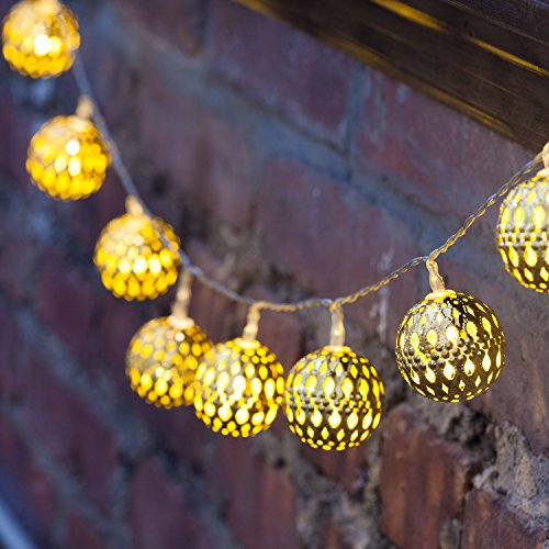 Gold Cut Out Metal Ball Battery String Lights with 10 LEDs New eBay