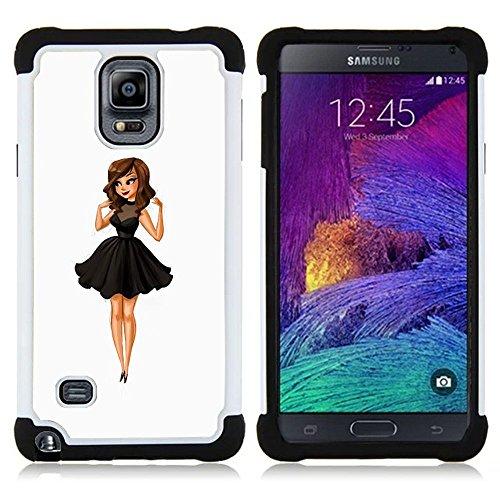 Samsung Galaxy Note 4 IV / SM-N910 - 3 in 1 Colorful Heavy Duty Stampato in PC Soft silicone nero della copertura gel della cassa Jacket (Moda para niños Señora Dulce Mujer Linda)