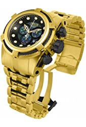 Invicta Men's 12737 Bolt Reserve Chronograph Black Dial 18k Gold Ion-Plated Stainless Steel Watch