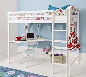 Cabin Bed High Sleeeper & Mattress with Desk in WHITE , Bunk Bed - HIGH Sleeper W + MATTRESS