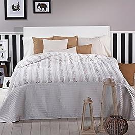Sancarlos - Colcha bouti samarinda bordada blanca blanco - relleno ligero - reversible - varias medidas disponibles