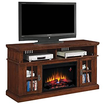 """ClassicFlame 26MM1066-O128 Dakota TV Stand for TVs up to 65"""", Caramel Oak (Electric Fireplace Insert sold separately)"""