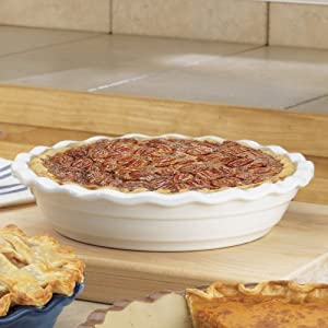 Haeger Naturalstone Deep Pie Dish 9 In White