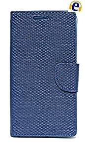ECellStreet Micromax YU Yuphoria YU5010 Textured Flip Cover Diary Folio Case With Magnet Lock - Dark Blue