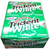 Trident White Sugarless Gum, Spearmint, 12-12 Piece Packs (144 Pieces Per Box!)