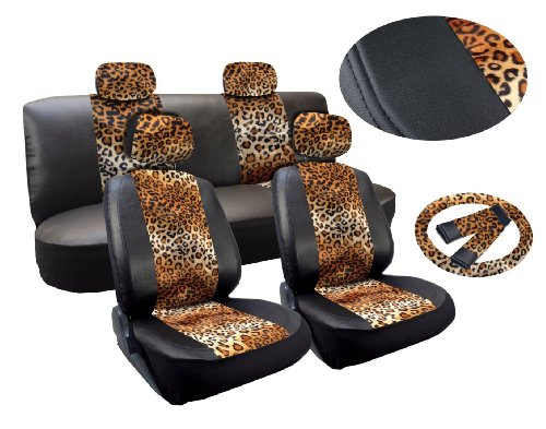 Tan Leopard Deluxe Leatherette 13Pc Full Car Seat Cover Set Premium Synthetic Leather Double Stitched - Low Back Front Bucket Seats - Rear Bench - Steering Wheel Set - 4 Headrests